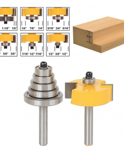 """Rabbet Router Bit with 6 Bearings Set -1/2""""H - 8"""" Shank Woodworking cutter Tenon Cutter for Woodworking Tools"""