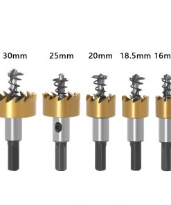 Hole Saw Set 5pcs 16/18.5/20/25/30mm Nano Blue Coated HSS Core Drill Metalworking Drill Bit (5pcs Set)