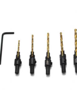 6pcs Countersink Drill Bit Set Titanium Coated HSS Wood Hole Drill Cutter Round Shank Twist Drill Bit #6#8#10#12#14