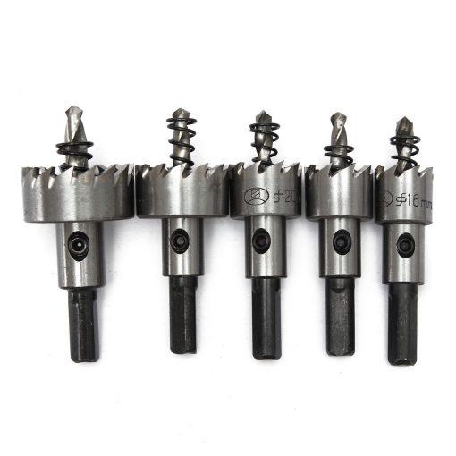Carbide Tip HSS Drill Bit Hole Saw Set Stainless Steel Metal Alloy 5pcs 16/18.5/20/25/30mm Hole Saw Drill Bit (5pcs Set)