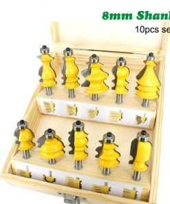 Woodworking Router Bit Engraving machine Trimming Straight Milling Cutter Tungsten Carbide Cutting Set 10pcs 8mm