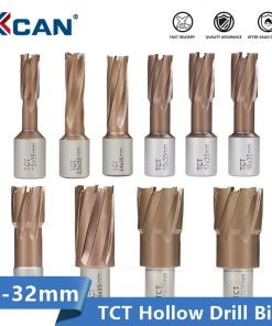 XCAN TCT Hollow Drill Bit TiCN Coating 12-32mm Carbide Annular Cutter Hole Opener Metal Core Drill Bit