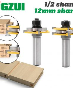 2pcs 12mm Shank 1/2 shank Joint Assemble Router Bits Tongue & Groove T-Slot Milling Cutter for Wood Woodwork Cutting Tools