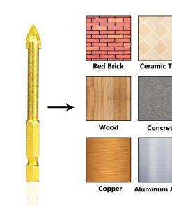 Carbide TCT Glass Drill Bits 1 Set 1/4'' Hex Shank Titanium Coated Power Tools Accessories Wall Glass Hole Drill