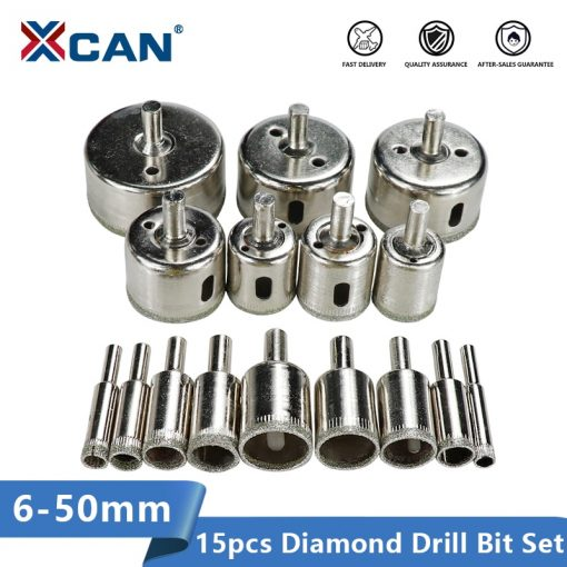 XCAN Diamond Coated Drill Bit Set 15pcs 6mm-50mm Tile Marble Glass Ceramic Hole Saw Drilling Bits For Power Tools