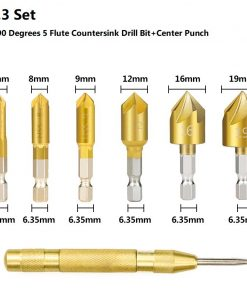Wood Drill Bit Set Countersink Drill Chamfering Cutter Center Punch Woodworking Hole Cutter Core Drill