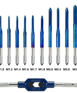 XCAN Thread Tap 10pcs M1-M3.5 HSS Metric Plug Tap Screw Tap Drill with Adjustable Tap Wrench Nano Blue Coated Machine Tap