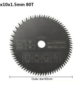 XCAN 1pc 85mm Bore 10/15mm 80Teeth Electric HSS Mini Circular Saw Blade Power Tools Accessories Wood/Metal Cutting Disc