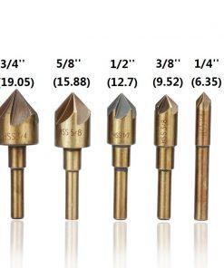 XCAN 5 Flute Countersink Drill Bit 5pcs 82 Degrees Chamfer Drill HSS4341 Wood Metal Hole Cutter