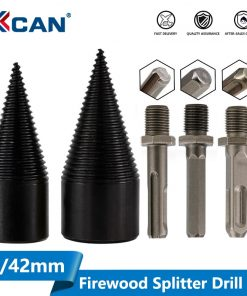 1pc 32mm/42mm HSS Firewood Splitter Drill Bit Round/Hex/Triangle Shank Wood Split Cone Drill Bit Woodworking Tools