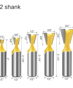 5pcs 12mm Shank 1/2 Dovetail Joint Router Bits Set 14 Degree Woodworking Engraving Bit Milling Cutter for Wood