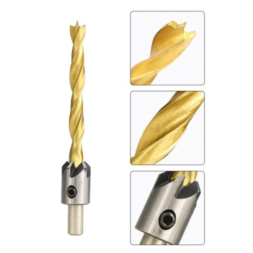 XCAN 3-10mm Titanium Coating Countersink Drill Bit Set with Hex Key Screw Hole Drill Cutter HSS Wood Drill Bit