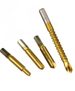 Damaged Screw Extractor with Hole Saw Drill Set 4pcs Broken Bolt Stud Stripped Screw Remover Tool (4pcs Set)