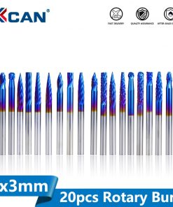 XCAN Rotary Burrs Set 20pcs 3x3mm Super Nano Blue Coating Double Cut and Single Mixed Rotary Files Carbide Router Rasps