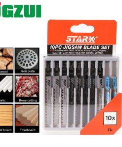 1 packs High Quality 10pcs Hcs HSS Ground Teeth Straight Cutting T-Shank Jig Saw Blade for Wood