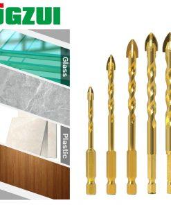 5pcs 7mm Hex Shank Twist Glass Bits Titanium Ceramic Drilling Drill Set 4 6 8 10 12mm Tile Concrete Cross Tip Hole Bit Tile