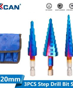 3pcs 3-12mm 4-12mm 4-20mm Nano Blue Coated HSS Steel Step Drill Bit Straight Flute Wood/Metal Hole Cutter Pagoda Drill Cone