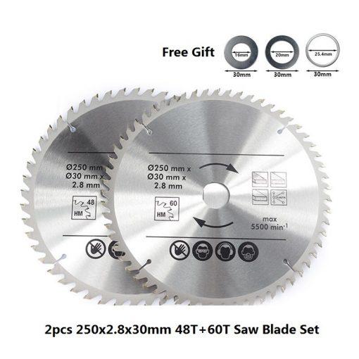 TCT Saw Blade 210/250mm Wood Cutting Disc Carbide Tipped Cutting Blade Set Circular Saw Disc Wood Saw Blade
