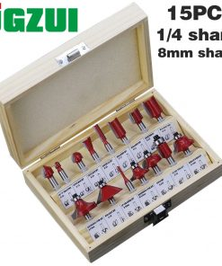 15pcs/set Woodworking Milling Cutters 1/4''/8mmShank Carbide Router Bit For Wood Cutter Engraving Cutting Tools