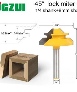 1PC Small Lock Miter Router Bit Anti-kickback 45 Degree 1/2 Inch Stock 1/4 Inch Shank Tenon Cutter for WoodworkingTools-RCT15291