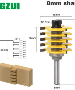 """1pc Box Joint Router Bit - Adjustable 5 Blade - 3 Flute - 8"""" Shank For Wood Cutter Tenon Cutter for Woodworking Tools"""