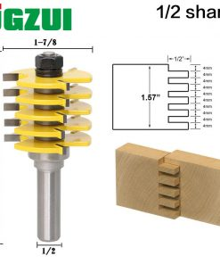 """1pc Box Joint Router Bit - Adjustable 5 Blade1/2"""" Shank 12mm shank For Wood Cutter Tenon Cutter for Woodworking Tools RCT15383"""