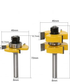 """2pc 8mm Shank Tongue & Groove Router Bit Set - Large Stock up to 1-1/4"""" Woodworking cutter Tenon Cutter for Woodworking Tools"""