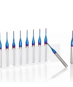 Corn Milling Cutter 10pcs 0.8mm Blue Coated Carbide PCB Router Bits For Wood/Metal Milling Engraving End Mill