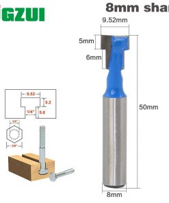 "1pc 8mm Shank High Quality T-Slot Cutter Router Bit for 1/4"" Hex Bot"