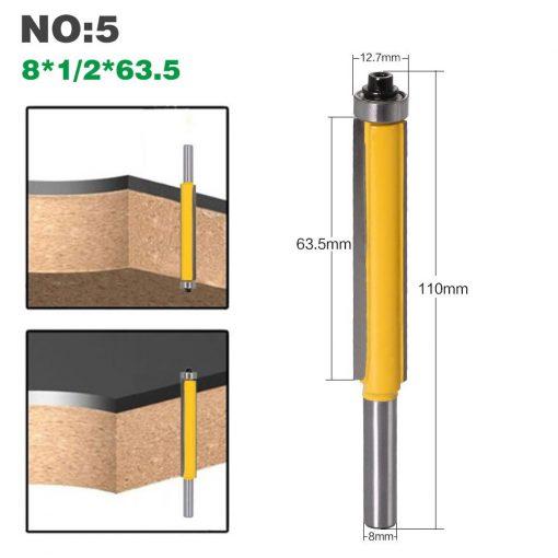 1Pc 8 shank long blade flush bit Flush Trim Router Bit End Bearing For Woodworking Cutting Tool