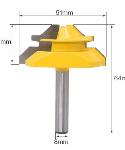 "1PC 8mm Shank Medium Lock Miter Router Bit - 45 Degree - 3/4"" Stock woodworking milling cutter/milling tools /carbide end RCT"