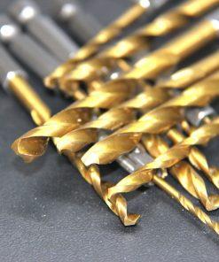 13pcs Twist Drill Bit Set 1.5-6.5mm Titanium Coated HSS Gun Drill Bit 1/4