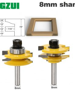 "2 Bit Rail and Stile Router Bit Set - 8"" Shank door knife Woodworking cutter Tenon Cutter for Woodworking Tools"