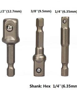 "XCAN 3pcs 1/4 ""3/8"" 1/2 "" Socket Adapter Hex Shank Drill bits Extension Rod Power Tool Accessories"
