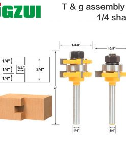 "2 Bit Tongue and Groove Router Bit Set - 1/4"" Shank - Shaker Woodworking Chisel Cutter Tool-RCT 15212"