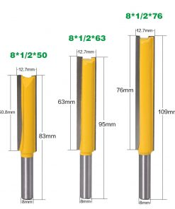 "3pc Straight/Dado Router Bit 3/8"" Dia. X 2""X 2-1/2""X 3"" Length - 8mm Shank Woodworking cutter Wood Cutting Tool"
