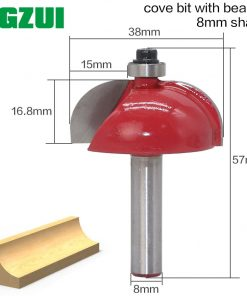 "1pcs/set High Quality Cove Bit With Bearing 8mm shank Cove Edging and Molding Router Bit - 7/8"" Radius - 8"" Shank"