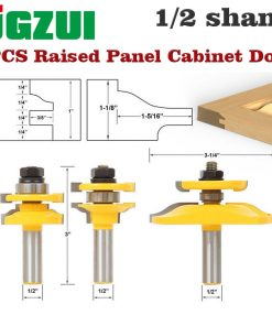"3 Bit Raised Panel Cabinet Door Router Bit Set- Bevel-1/2"" Shank 12mm shankWoodworking cutter Tenon Cutter for Woodworking Tools"