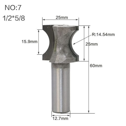 """1pcs 1/2""""1/4"""" Shank Half Round bit convex edging Bits for wood end mill Woodworking Tool Industrial Grade milling cutter"""