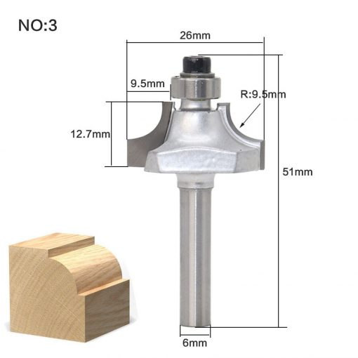 1pcs/set High Quality Roundover Bit with Bearing 6mm shank Dovetail Router Bit Cutter wood working