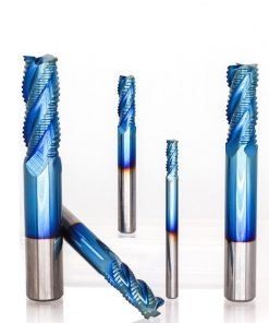 XCAN 1pc 4mm-12mm Nano Blue Coating Roughing End Mill 4 Flute Spiral Carbide End Mill CNC Router Bit End Milling Cutter
