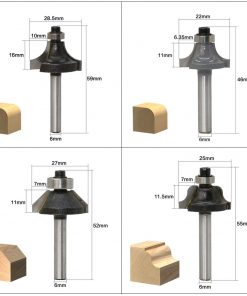 12pcs Milling Cutter Router Bit Set6mm Wood Cutter Carbide Shank Mill Woodworking Trimming Engraving Carving Cutting Tools