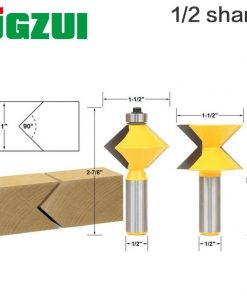 """2Pc 1/2"""" Shank 90 Degree Edge Banding Router Bit Set V-Design Tongue & Groove plate splicing knife woodworking cutter"""
