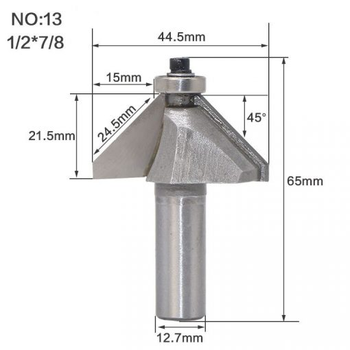 """1pcs 1/4"""" 1/2"""" Shank Chamfer Cutter Router Bits for wood Horse Nose Bit 45 Deg CNC Woodworking Tools two Flute endmill"""