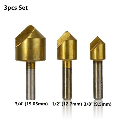 Countersink Drill Bit Set Titanium Coated 1 Flute Woodworking Hole Cutter 90 Degrees Chamfer Drill Bit