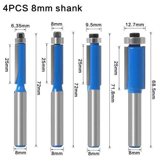 "1pc 8mm Shank 1"" Flush Trim Router Bit with Bearing for Wood Template Pattern Bit Tungsten Carbide Milling Cutter for Wood"