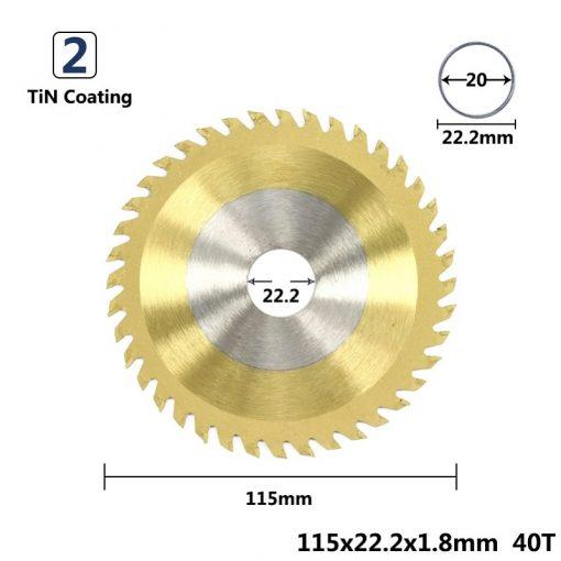 XCAN 1pc Diameter 115x22.2mm 40T TCT Circular Saw Blade Nano Blue/TiN/TiCN Coating Woodworking Cutting Disc Carbide Saw Blade