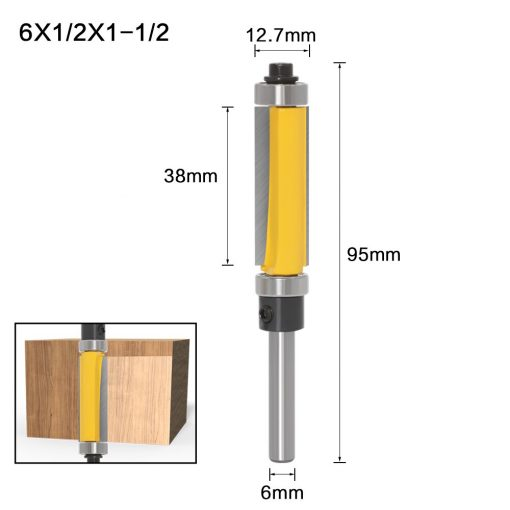 """1Pc 6mm 1/4"""" Shank Template/Trim Router Bit, with 2"""" Long Routing Cutters. Features: top & bottom ball bearings Woodworking Tool"""