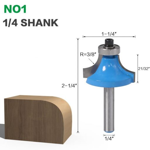 """1pcs 6mm shank 1/4"""" shank R1/2"""" Corner Round Over Router Bit with BearingMilling Cutter for Wood Woodwork Tungsten Carbide"""