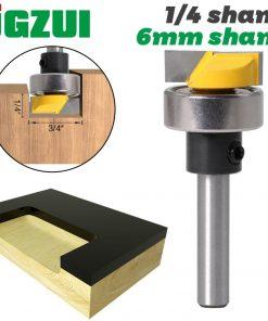 """JGZUI 6mm shank 1/4"""" Shank Template Trim Router Bit - Bottom Cleaning 3/4""""W X 1/4""""H Woodworking cutter Tenon Cutter for Woodwork"""